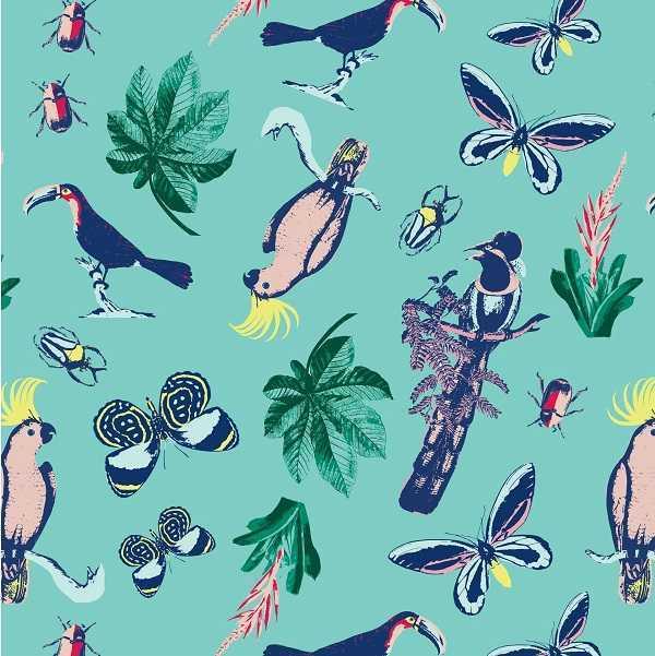 Cotone Tropics con Farfalle