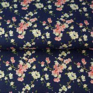 Cotone Blu navy con fiori