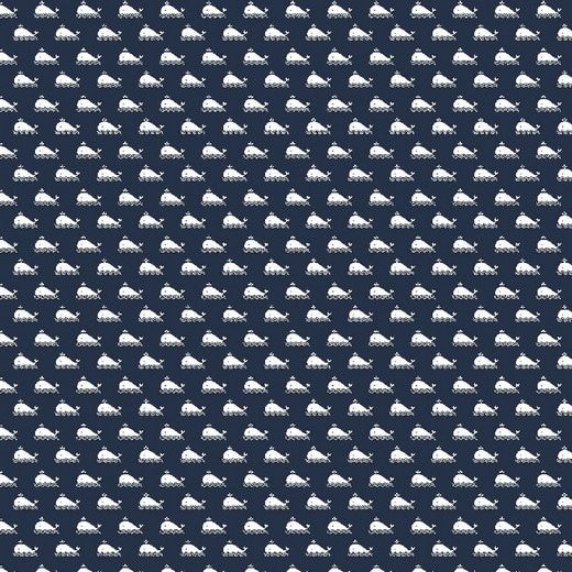 Cotone Blu Navy con Balene