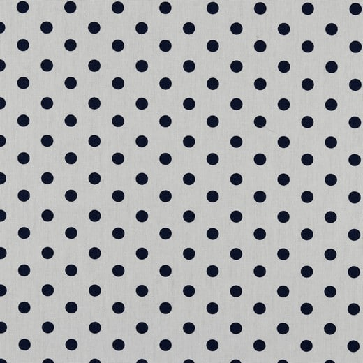 Cotone Bianco a Pois Blu Navy