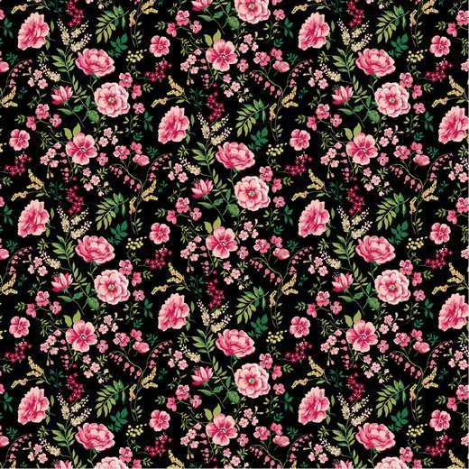 Cotone Sweet Flowers Black