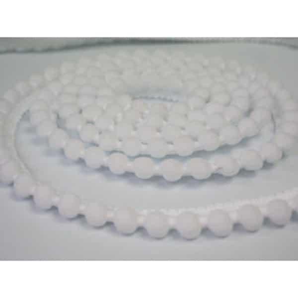 Nastro Pom Pom 6mm Bianco