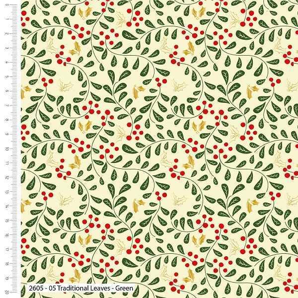 Cotone Natalizio Leaves Green