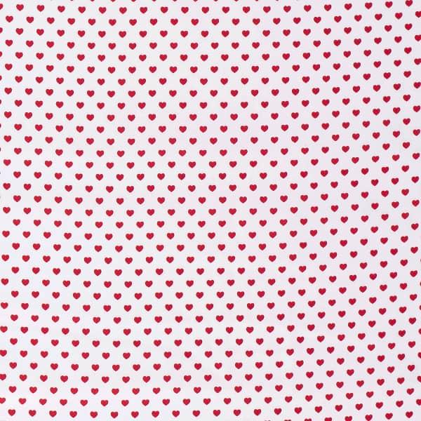 Cotone Bianco con Cuoricini Rossi