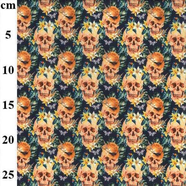 Cotone con Teschi Skull Flower
