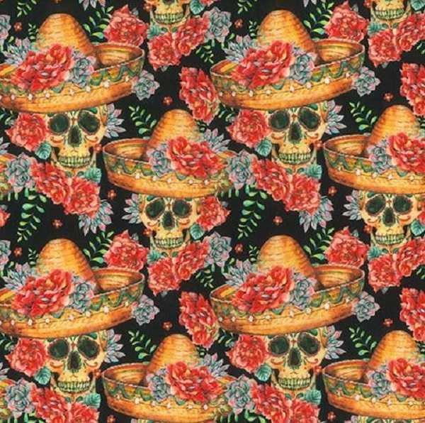 Cotone con Teschi Mexican Skulls