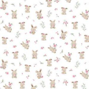 Cotone Organico Bianco con Coniglietti
