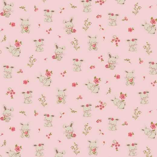 Cotone Organico Rosa con Coniglietti