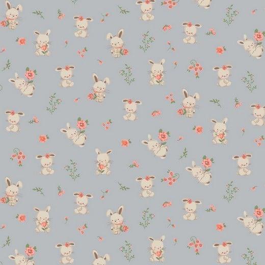 Cotone Organico Grigio con Coniglietti