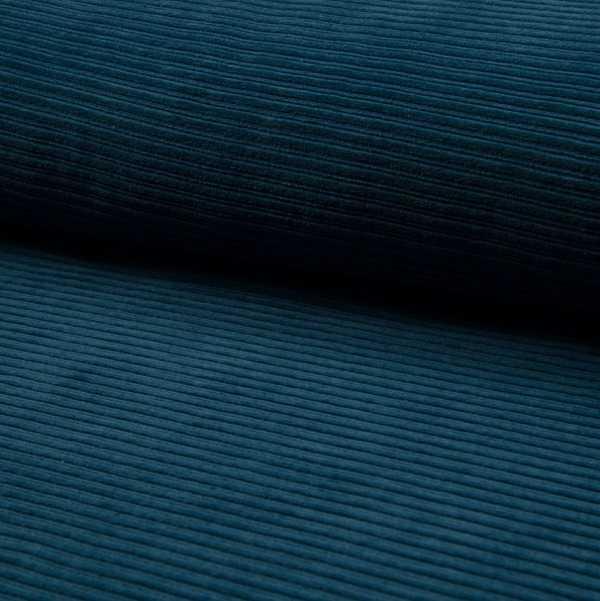 Jersey Corduroy con Righe in rilievo Blu Petrolio