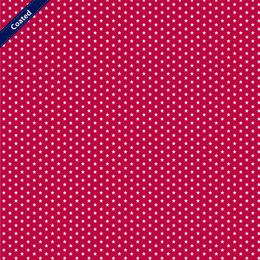 Cotone Idrorepellente Rosso con Stelline