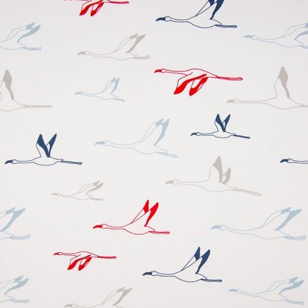 Felpa di Cotone Bianco con Uccelli