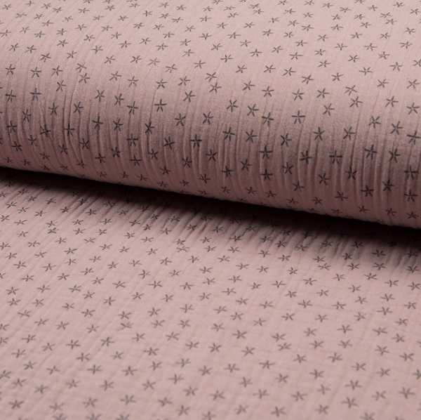 Mussolina Tripla Garza Rosa Antico con Stelline