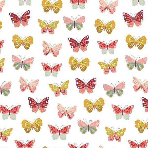 Cotone Bianco con Farfalle