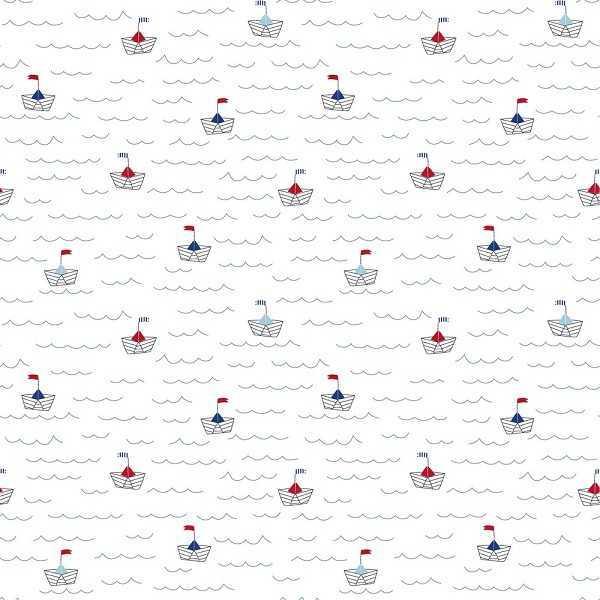 Cotone Bianco con Barchette