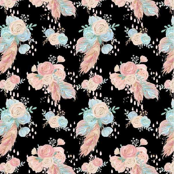 Jersey Organico Digital Flowers Black