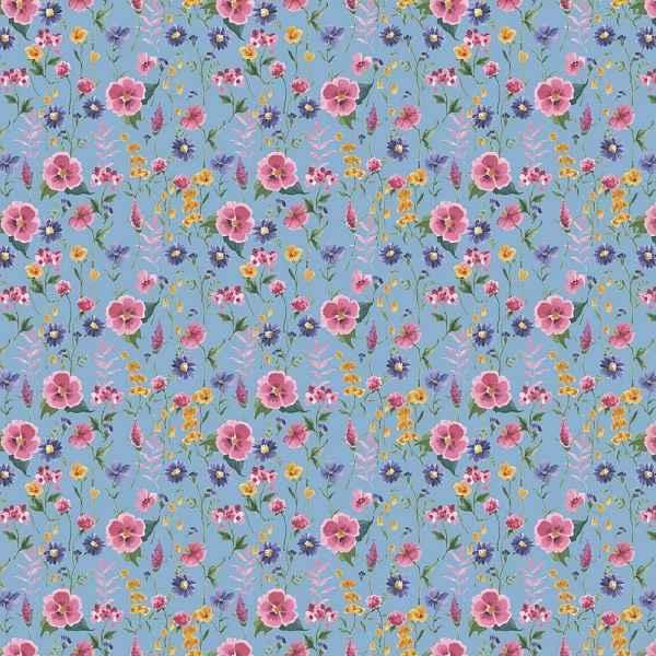 Jersey Organico Flower Fields Blu Sky