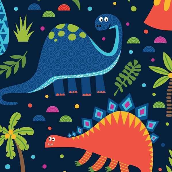 Cotone Blu Navy con Dinosauri