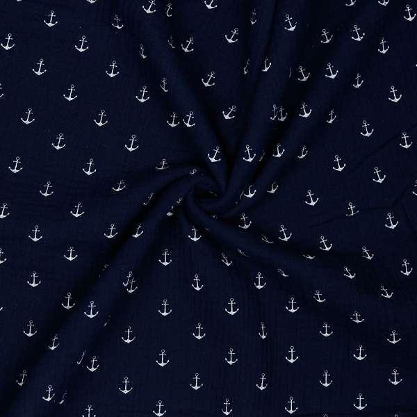 Mussolina Blu Navy con Ancore