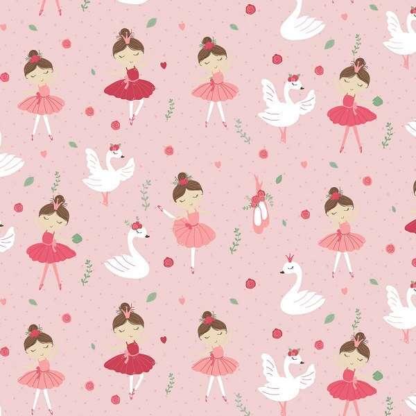 Cotone Rosa con Ballerine e Cigni