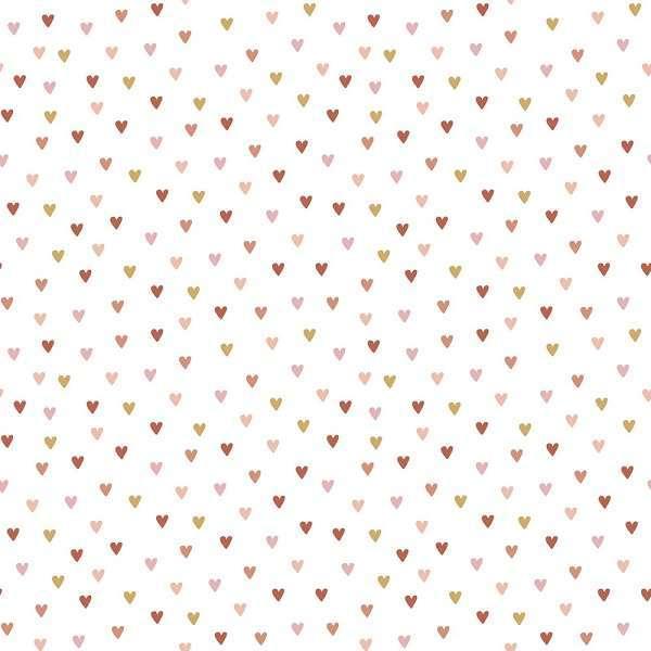 Cotone Bianco con Cuoricini Colorati