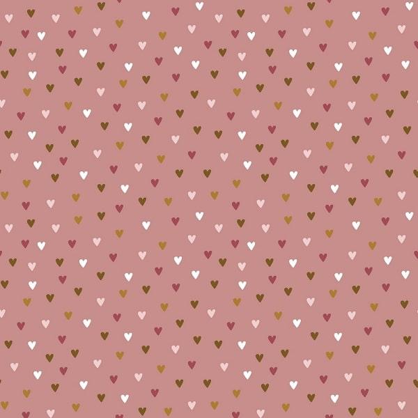 Cotone Rosa Antico con Cuoricini Colorati